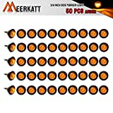 Meerkatt (Pack of 50) 3/4 Inch Mini Small Round Amber LED Side Marker Indicator Turn Signal Light Clearance Lamp Truck Trailer Bus Marine RV Automobiles Flatbed Waterproof 12V DC with rubber grommets