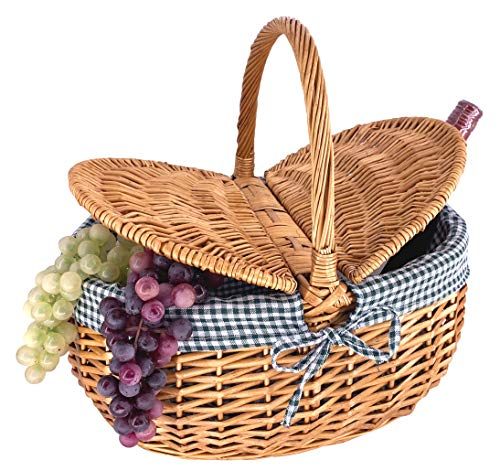 Les Jardins de la Comtesse - Country Wicker Basket - Green/White Gingham - High Quality Natural Wicker - Practical Basket - Detachable and Washable Fabric - Ideal for the Market - 40 x 31 x 20 cm