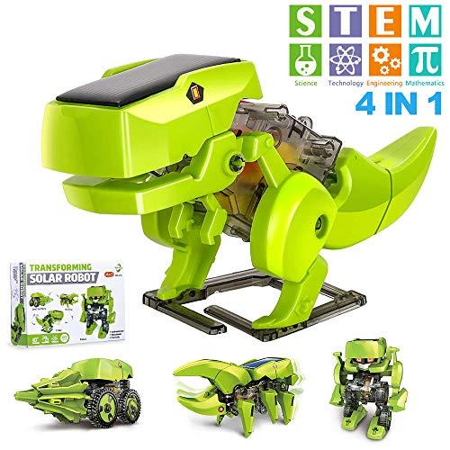 OFUN Dinosaurier Solar Roboter Bausatz Set, 4 in 1 STEM Spielzeug Bausteine Bausätze Konstruktions Lernspielzeug Wissenschaftliches Kit als DIY Geschenk für Kinder ab 8 Jahren