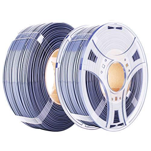 eSUN PETG Refilament and eSpool Kit, Removable and Reusable Empty Filament Spool Fit 3D Printer Refill PETG 1.75mm, 1KG (2.2 LBS) Spoolless Filament, Solid Grey
