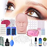 Professional Eyelashes Kit, MYSWEETY 19pcs False Eyelashes Extension Set Makeup False Eyelashes Training Kit for Beginners Makeup Practice Eye Lashes Graft with Mannequin Head and Glue