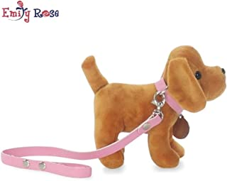 "Emily Rose Accessories for 18 Inch Dolls | Adorable Puppy Dog with Pink Leash, Matching Collar and Dog Tag | Fits 18"" American Girl Dolls (Brown Puppy)"