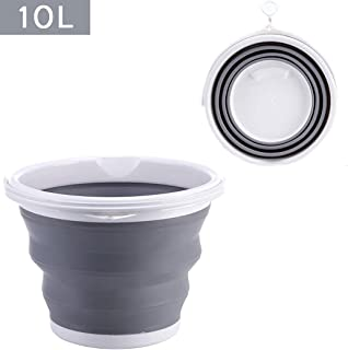 Seau de nettoyage pliable en silicone de 10 L pour le nettoyage du camping, la pêche, la cuisine - Seau de 10 litres en ba...