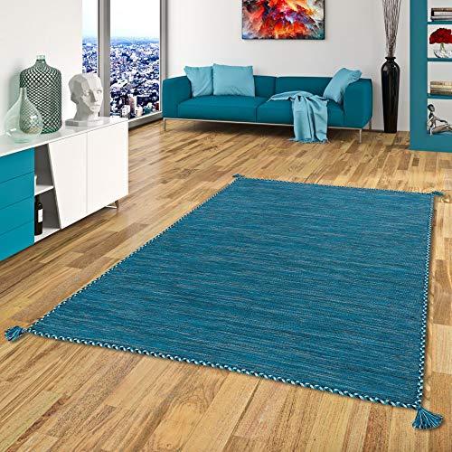 Prico - Tapis Kilim Naturel - Bleu pétrole - 8 Tailles Disponibles