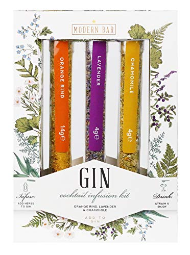 Modern Gourmet Foods, Gin Kruiden Infusie Cocktail Set, inclusief Sinaasappelschil, Lavendel, en Kamille (bevat geen alcohol)