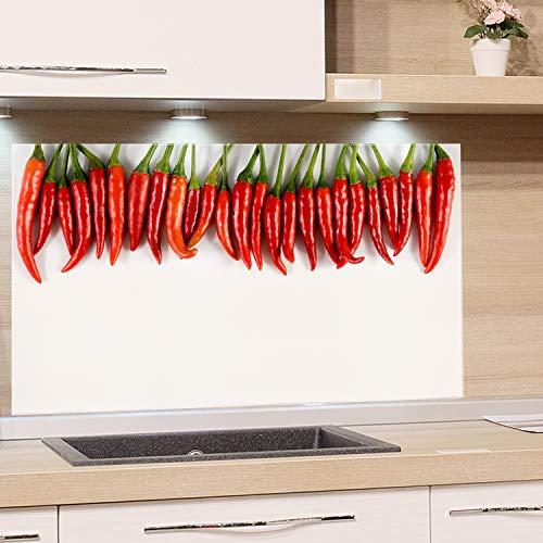 GRAZDesign Spritzschutz Glas für Küche Herd, Bild-Motiv Chili Schoten Peperoni hängend, Küchenrückwand Küchenspiegel Glasrückwand / 80x50cm