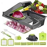 【Gemüseschneider 13 in 1】Kommt mit einem Eiertrenner, 7 austauschbare Klin-gen bieten Ihnen zahlreiche Möglichkeiten, Gemüse und Obst zu schneiden, zu schälen, zu zerkleinern, in Scheiben zu schneiden und zu reiben, um mit Tomaten, Paprika, Karotten,...