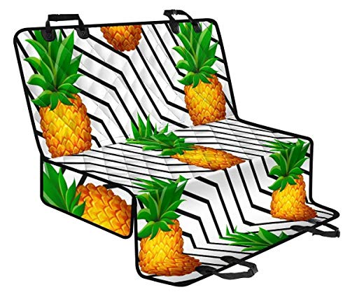 NDISTIN Foldable for Camping Trips Convertible Scratch Proof Pet Car Seat Cover Hammock with Side Flaps Pineapple Pattern Trucks SUVs Universal Driver Best Gift Durable Women's Men's Pet Supplies L