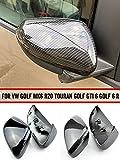 MKptopia ala lateral espejo retrovisor cubierta embellecedora tapa de repuesto funda para Volkswagen VW GOLF 6 VI MK6 GTI R line R20 Touran-fibra de carbono