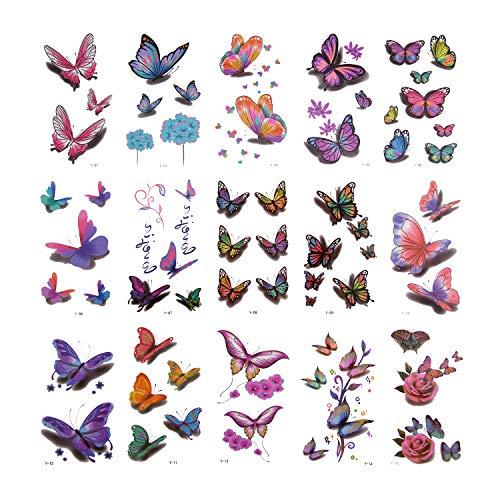 AIEX 30pcs Tatouages Temporaires De Papillon 140 Divers Styles De Tatouages De Papillon De Fleurs Autocollants Tatouages 3D Imperméables Pour Des Cadeaux Des Clients Quotidiens