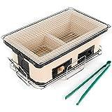 Parrilla de barbacoa japonesa Rectangular Hibachi Charcoal Ceramic Clay Grill Tablero de la estufa Yakiniku Estufa de carbón con pinza para alimentos para acampar al aire libre en interiores (Beige)