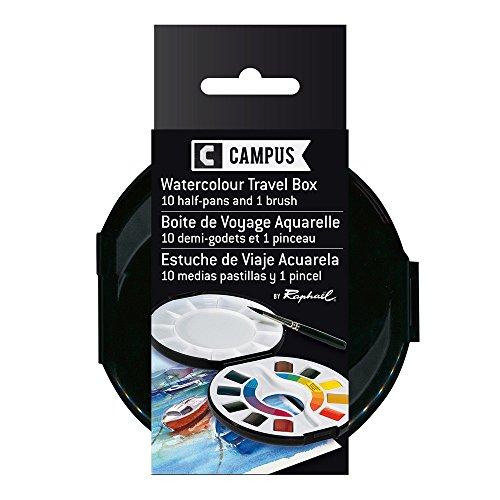 Campus Watercolor Travel Box, 10 Half-Pans and 1 Brush