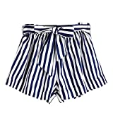 Longra 🌞 💞 Mujeres Tops pantalón! Bolso de Mujer de Manga Corta Sexy y con Estampado Floral para Mujer Bolso con cinturón Shorts Shorts (Azul, S)