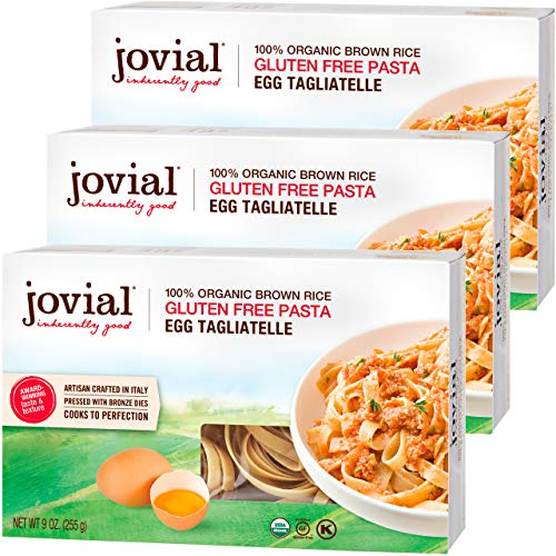 Jovial Egg Tagliatelle Gluten-Free Pasta | Whole Grain Brown Rice Egg Tagliatelle Pasta | Lower Carb | Kosher | USDA Certified Organic | Made in Italy | 9 oz (3 Pack)