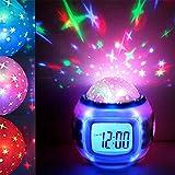 Projektion Uhren Sky Star Kinder Baby Zimmer Nachtlicht Projektor Lampe Schlafzimmer Musik Wecker Farbwechsel Multifunktions Leuchtende Wecker