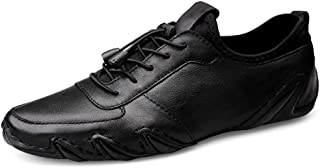 XUJW-Shoes, Athletic Shoes for Men Sports Shoes Lace Up Style OX Leather Simple Pure Color Comfortable Elastic Low Top Durable Comfortable Walking Soft (Color : Black, Size : 8 UK)