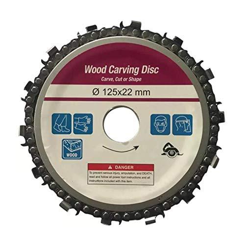 Disco de talla de madera Amoladora de cadena para carpintería Sierras de cadena Herramienta de placa de cadena Amoladora de ángulo de 125 mm Amoladora de ángulo 5 pulgadas 14 dientes 3 piezas