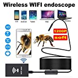 Zhenrong Wireless Endoscope1200P, WiFi Borescope Inspection Camera 2.0 Megapixels HD Snake Camera for Android and iOS Smartphone, iPhone, Samsung,Huawei (wifi8mm-2m Soft)