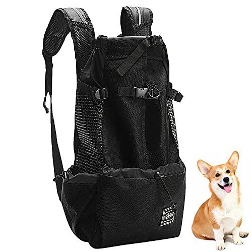 Mochila portadora para perros pequeños y medianos, bolsa de mochila Comfort Mochila con tapa abierta, malla lateral transpirable para viajes, aventuras de senderismo, acampar al aire libre,Black,M