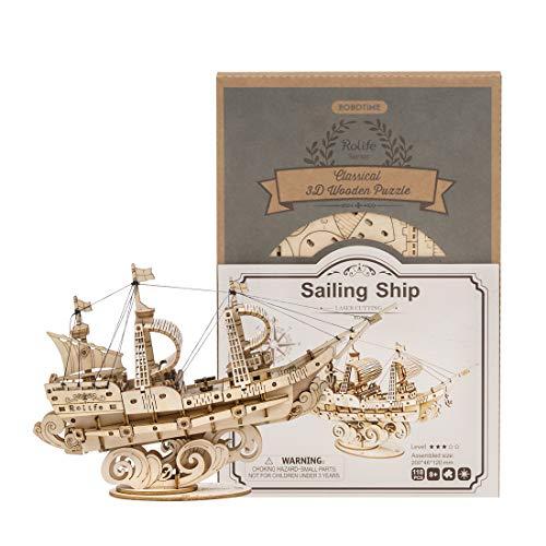 Trueornot 3D-Puzzles Holz Puzzle Modell DIY Holz Segelschiff 3D Mechanisches Puzzle Modellbausatz Pädagogisches Spielzeug
