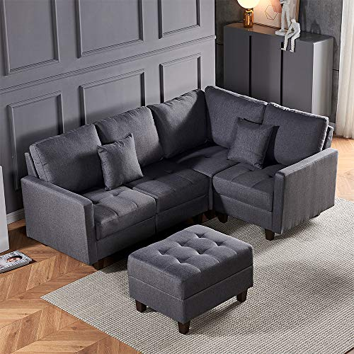 QIHANG-UK 210cm Corner Sofa Set Left & Right Hand Side, Grey Fabric Chaise Set Lounge Couch sets for Home Office Small Spaces, Upholstered Living Room Sofa Settee with Cushions Footstool