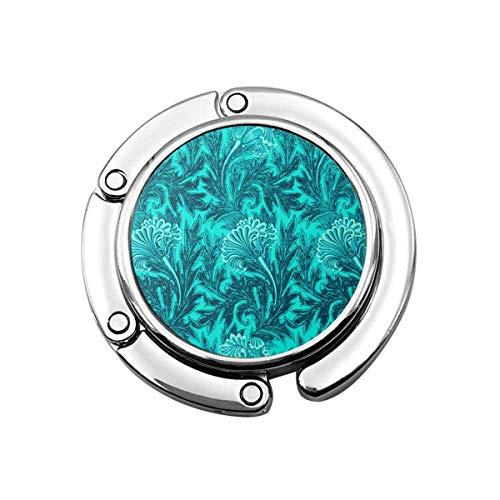 Gancho para Monedero Flor-Damasco Verde Azulado Soporte para Monedero Plegable Bolso para Colgar Gancho para Bolsa para Mesa