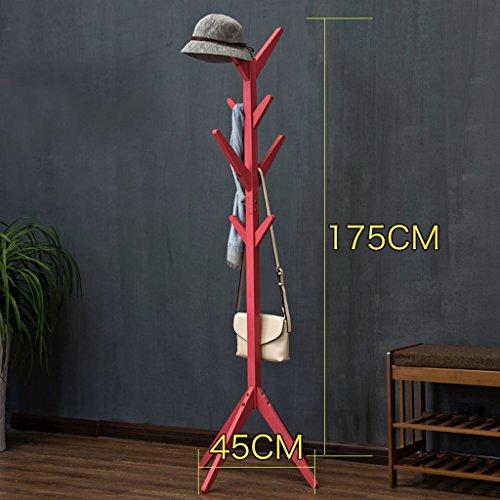 Dongyd - Perchero de suelo de madera maciza simple para niños, marco de ropa para sala de estar, dormitorio, percha de almacenamiento (color rojo sandía)