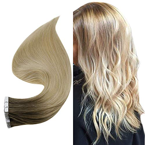 Easyouth Tape Echthaar Extensions Ombre Brown Roots Color Chestnut Brown mit Blond Mischen 14zoll Tape in Remy Extensions Balayage Tape Extensions Echthaar