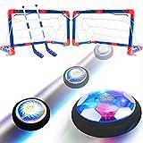 Hover Soccer 2 en 1 Juego de juguetes para niños, juego de interior recargable con 3 goles y LED, Air Power Hockey y juguetes deportivos con pelota de fútbol, regalos para niños y niñas de 3 a 12 años