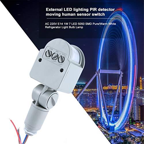 Panamami Professionele bewegingssensor, lichtschakelaar, buiten, AC 220 V, automatisch, infrarood, PIR bewegingsmelder, schakelaar met LED-licht/grijs