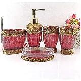 Sanlucky Set de Accesorios de baño de 5 Piezas, Accesorios de baño Vintage Red, Funciones de Set de baño, dispensador de jabón, portacepillos, Taza y jabonera