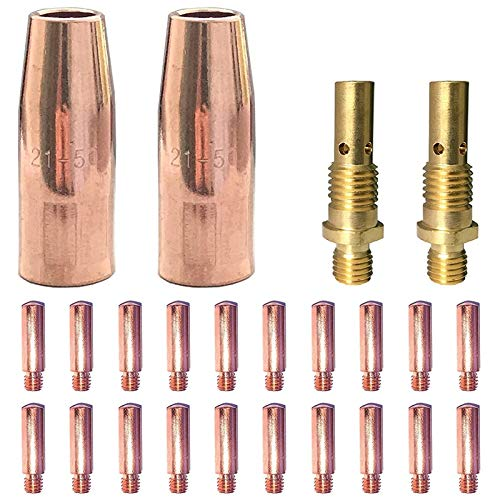 ACAMPTAR 24 Piezas Kit de Accesorios para Máquina de Soldar Mig Puntas de Contacto 11-35 Boquillas de Gas 21-50 Difusores de Gas 35-50