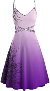ANJUNIE Women's Cami Strap Swing Cocktail Dress Halloween Sequins Print Sleeveless Camisole Mini Dress
