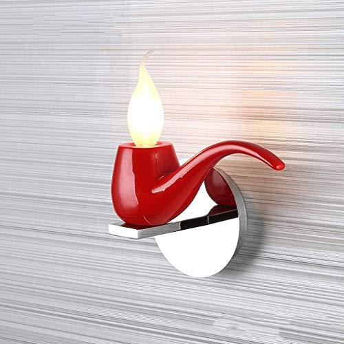 Bañadores de pared Wall Light Tobacco Pipe Vintage Industrial Retro Lámpara de pared Aplique de pared Luz Art Deco Hierro E15 Base para el dormitorio, Dormitorio, Pasillo, Restaurante, Escaler