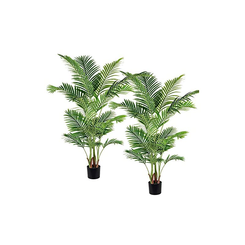 silk flower arrangements artiflr 2 pack artificial areca palm plant 5.2 feet fake palm tree with 17 trunks faux tree for indoor outdoor modern decoration feaux dypsis lutescens plants in pot for home office