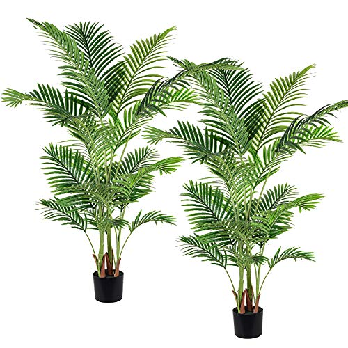 Artiflr 2 Pack Artificial Areca Palm Plant 5.2 Feet Fake Palm Tree with 17 Trunks Faux Tree for Indoor Outdoor Modern Decoration Feaux Dypsis Lutescens Plants in Pot for Home Office