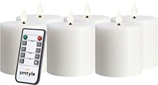smtyle White Battery Operated Candles with Moving Flame Wick and Timer, Flameless Flickering LED Pillar Candles (White3in-P6)