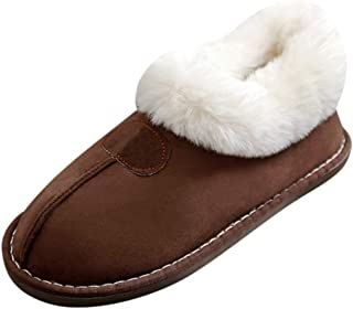 KAIXLIONLY Women's House Slippers,Ladies Suede Fur Slippers Furry Fuzzy Comfy Memory Foam House Shoes Indoor&Outdoor
