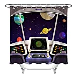 Cortina de Ducha Cartoon Space Stars Universe Planet Set de Cortina de Ducha Tela Impermeable 180X200cm con Gancho