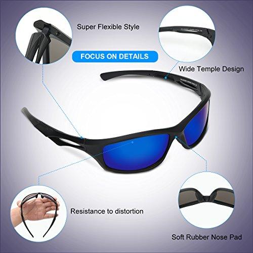 Occffy Polarisierte Sportbrille Sonnenbrille Fahrradbrille mit UV400 Schutz für Herren Autofahren Laufen Radfahren Angeln Golf TR90 (599 Schwarze Matte Rahmen mit Blaue Linse) - 4