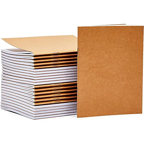 24 Pack Kraft Paper Notebooks, Blank A6 Journals Bulk for Students & Kids, 4.25x5.5 In