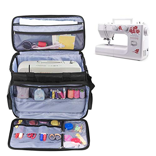 AHM Sewing Machine Carrying Bag with Removable Padding Pad, Universal Carry case with Shoulder Strap Compatible with Most Standard Usha Janome, Singer, Brother Machines -Black