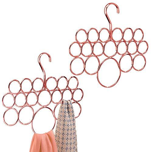 mDesign - Multihanger - sjaalhanger/kledingkastorganizer - voor riemen, stropdassen, sieraden en sjaals - voor kledingkasten en andere kasten - hangend/met ringen - roségoud