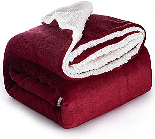 Delgeo Bedsure Manta Reversible de Franela/Sherpa 150x200cm - Manta para Cama 90 de 100% Microfibra Extra Suave - Manta de Felpa Rojo Oscuro