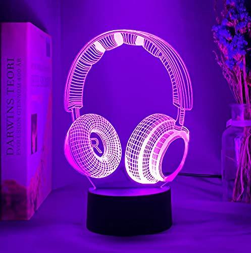 3D Kopfhörer Nachtlicht Lampe, LED Licht Nachtlicht Optische Täuschung Lampe, 16 Farben ändern mit Fernbedienung und Touch Control, Geburtstags Kinder