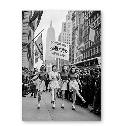 Pintura de la lona 50x70cm sin marco 1940 Fotografía vintage Imprime Skate para trabajar Ahorre gas Blanco y negro Arte de la pared Cartel retro Decoración para el hogar