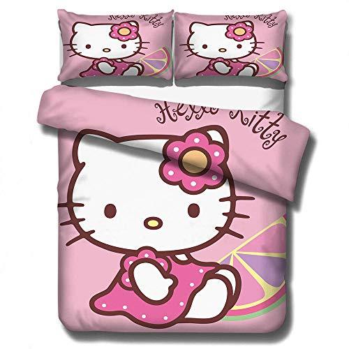 ZYNYHGS Children's Hello Kitty cartoon 3D duvet cover bedding, children's girl quilt cover bedding set, soft and comfortable full-size girl home textiles-F_173x218cm(3pcs)
