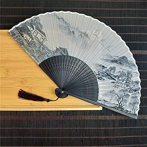 QIFFIY Abanico plegable de seda con impresión paisaje, estilo chino antiguo, portátil,...
