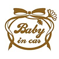 imoninn BABY in car ステッカー 【シンプル版】 No.29 お花リボン (ゴールドメタリック)