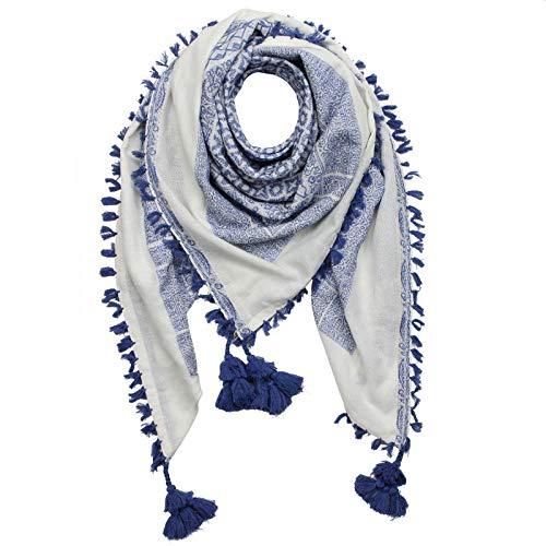 Superfreak Stilvoll detailliertes Tuch im Pali-Look - PLO Schal - 120x120 cm - Pali Palästinenser Arafat Tuch - 100% Baumwolle Farbe: weiß-blau - Muster 4